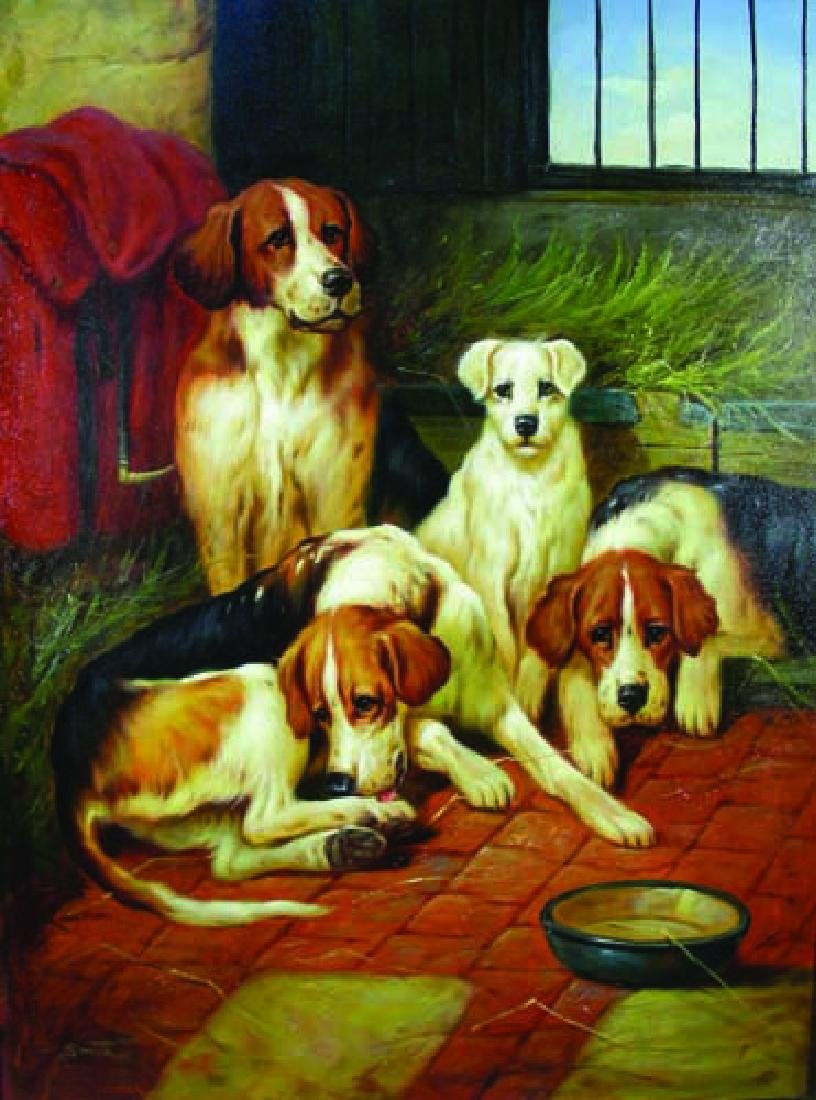 FINE ORIGINAL OIL ON CANVAS:  DOGS