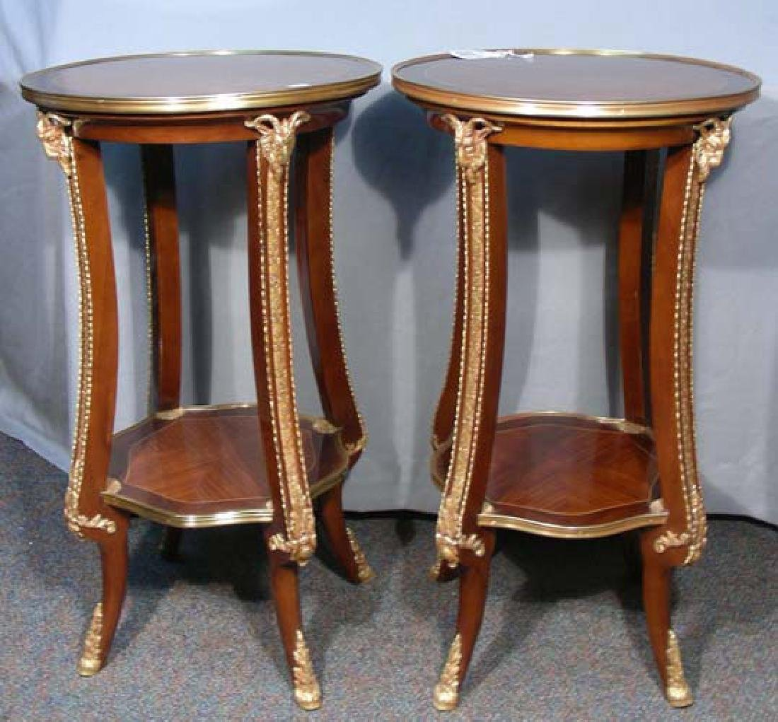 PAIR ITALIAN INLAID AND ORMOLU SIDE TABLES