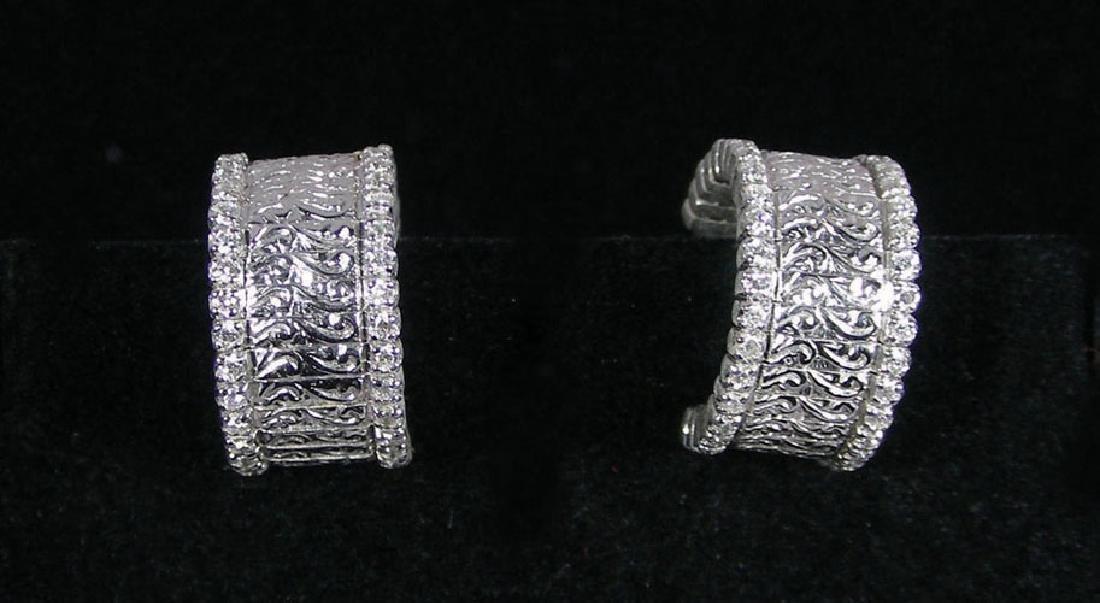 DESIGNER ROBERTO COIN 18K WHITE GOLD & DIAMOND EARRINGS