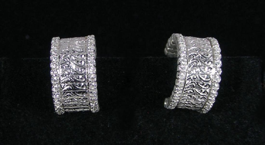DESIGNER ROBERTO COIN 18K WHITE GOLD & DIAMOND EARRINGS
