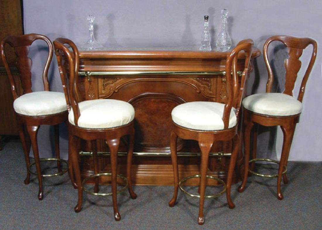 FABULOUS ITALIAN HAND CARVED BAR WITH FOUR MATCHING