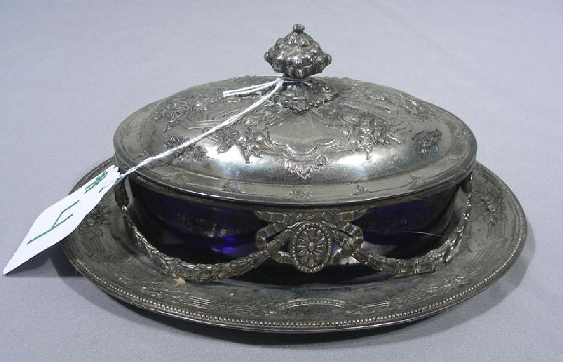 VINTAGE SILVER PLATED DISH WITH COBALT INSERT
