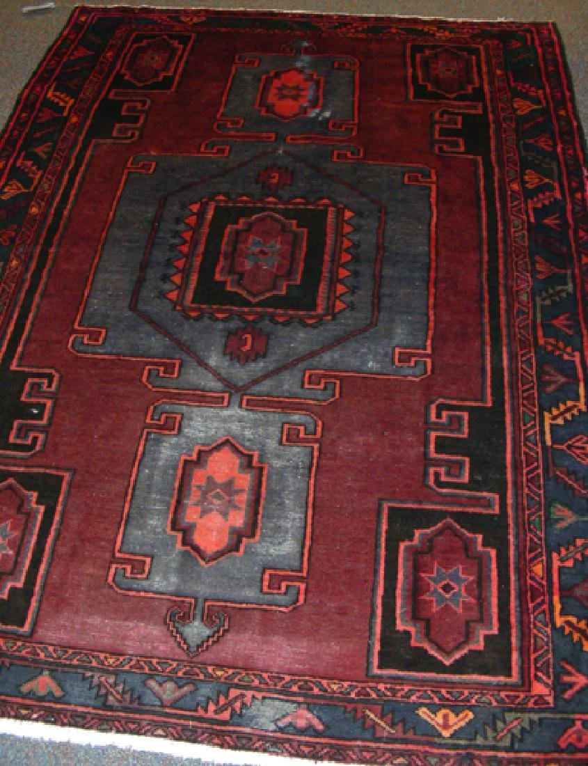 SEMI ANTIQUE HAND KNOTTED PERSIAN HAMADAN AREA RUG