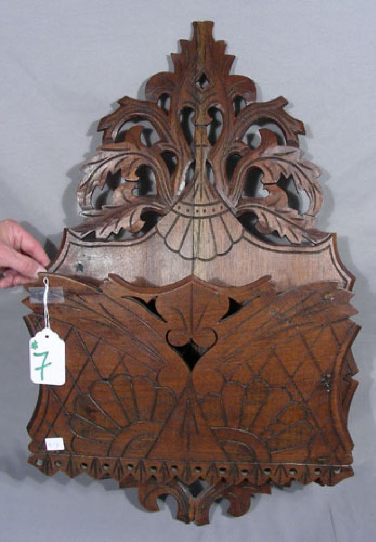 ANTIQUE HAND CARVED WOODEN WALL MAGAZINE RACK