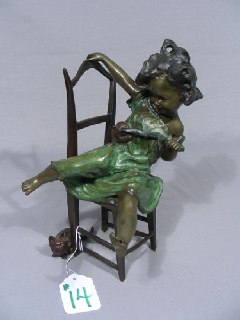 "VINTAGE HEAVY BRONZE SCULPTURE ""GIRL WITH KITTENS"""