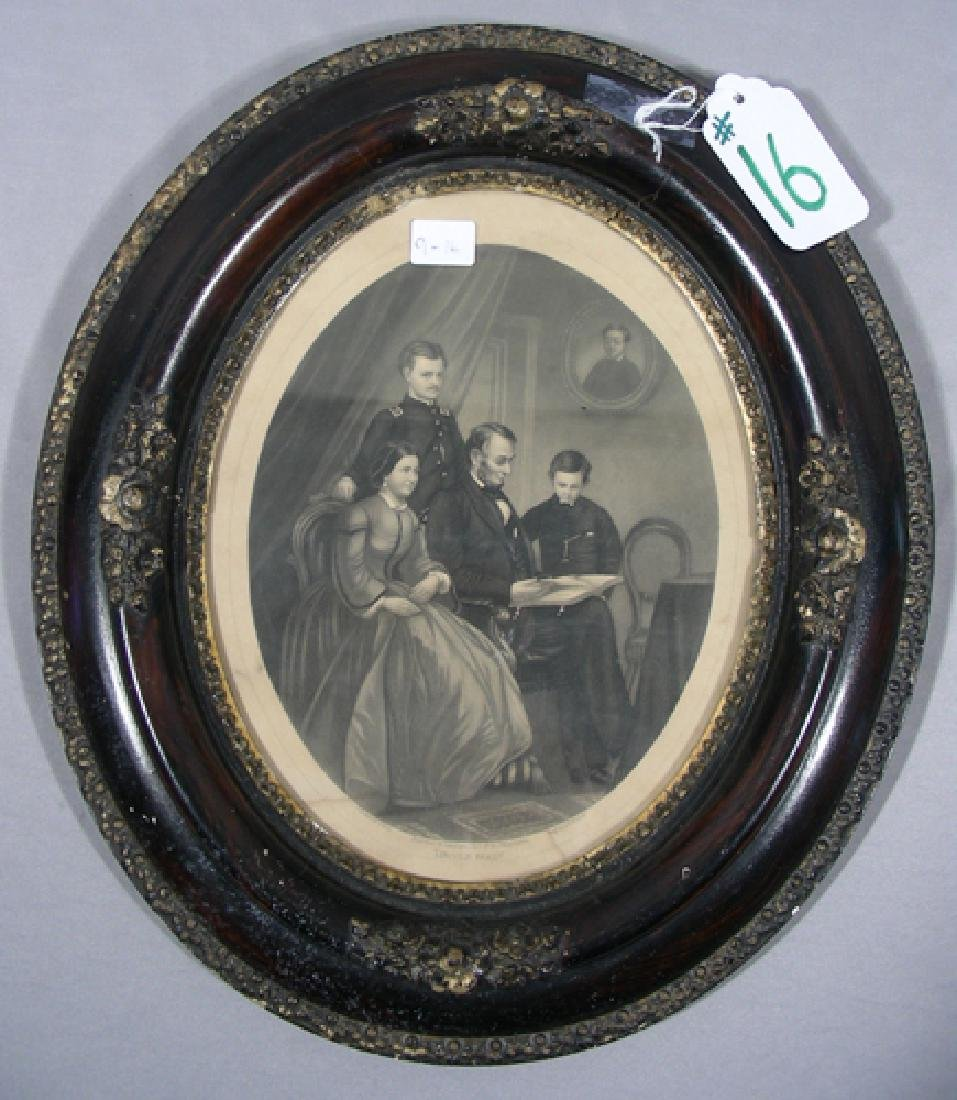 VINTAGE ABRAHAM LINCOLN FAMILY ETCHING