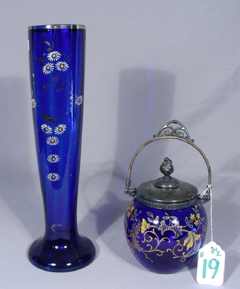 TWO VINTAGE BOHEMIAN HAND PAINTED BLUE GLASS