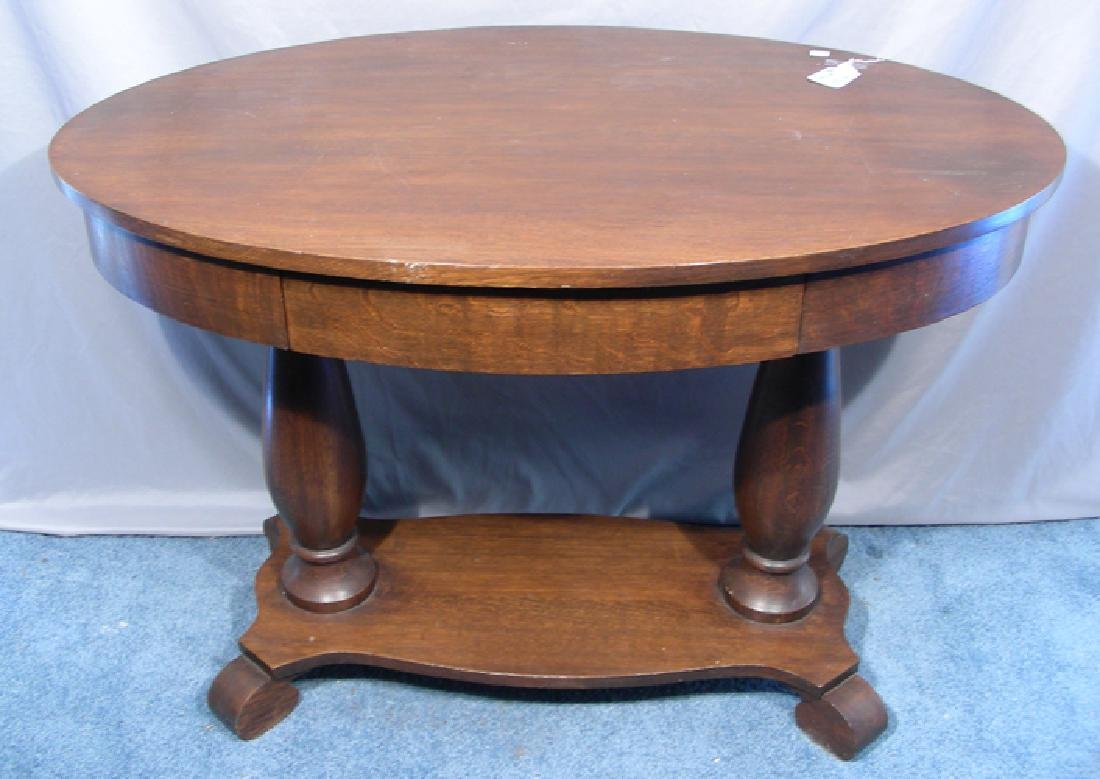 ANTIQUE OVAL WOODEN TABLE WITH SINGLE DRAWER