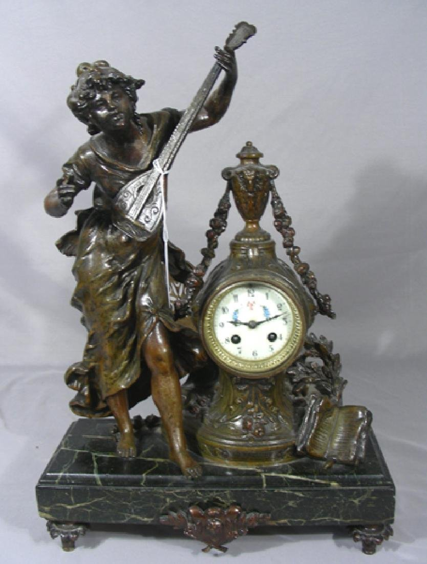 ANTIQUE FRENCH BRONZE PATINA SPELTER FIGURAL CLOCK SET