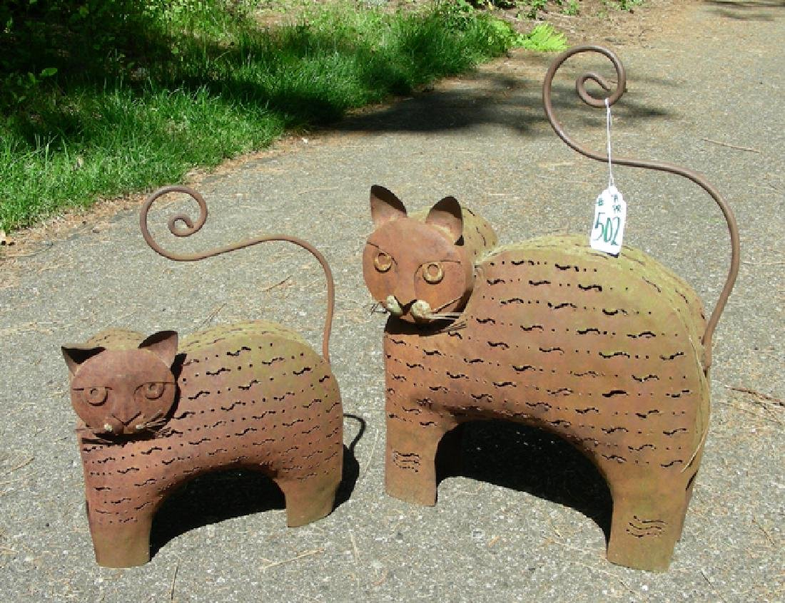 PAIR OLD CUSTOM MADE METAL CAT LANTERN SCULPTURES