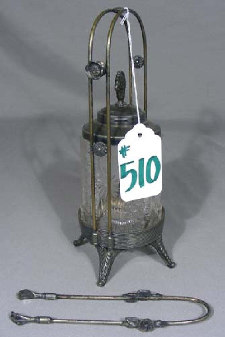 ANTIQUE SILVER PLATED AND CRYSTAL PICKLE CASTER