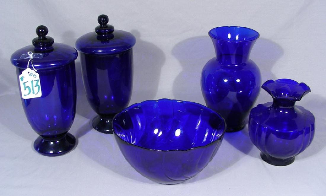 GROUP OF FINE COBALT GLASS ACCESSORIES