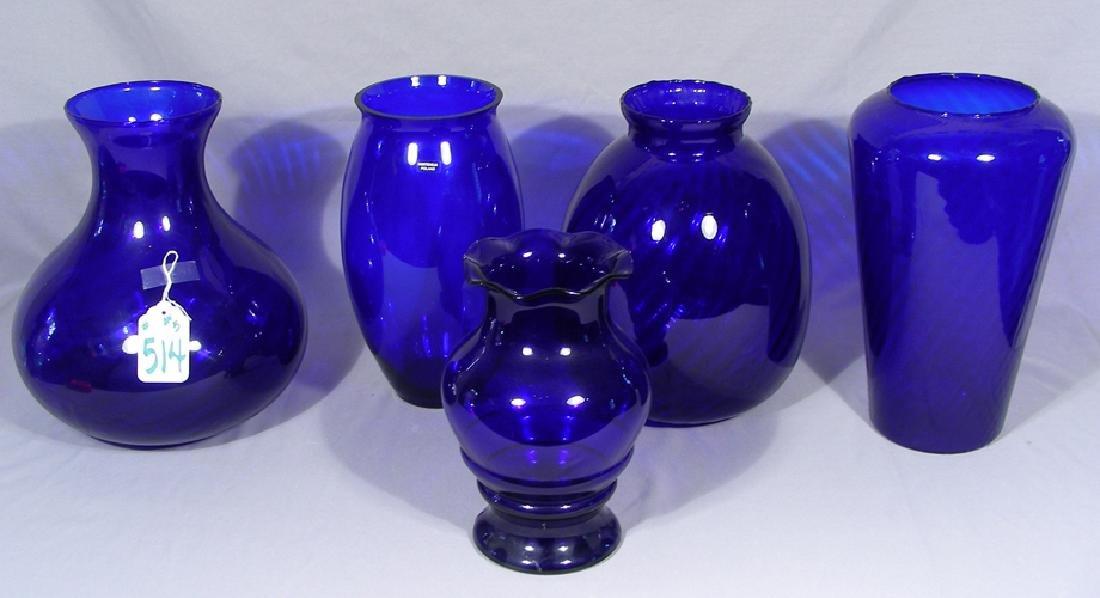 GROUP OF FIVE COBALT GLASS VASES