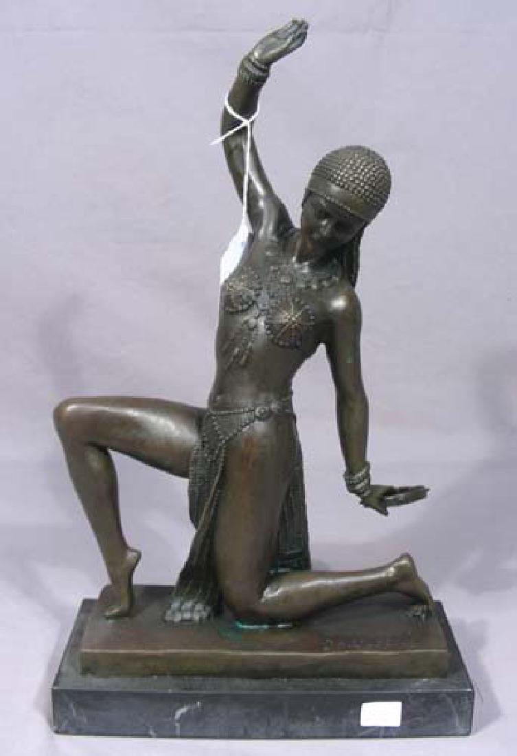 BEAUTIFUL ART DECO STYLE BRONZE SCULPTURE OF DANCER