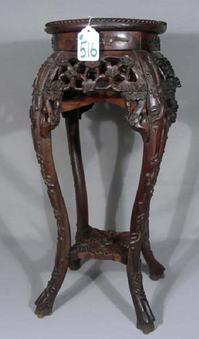 VINTAGE CHINESE HAND CARVED PEDESTAL WITH MARBLE TOP