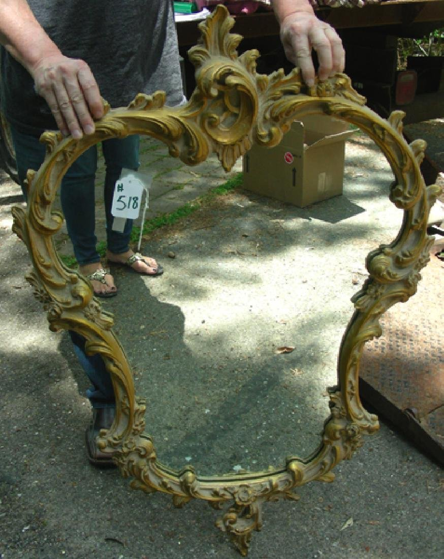 VINTAGE HAND CARVED WOODEN GILT WALL MIRROR