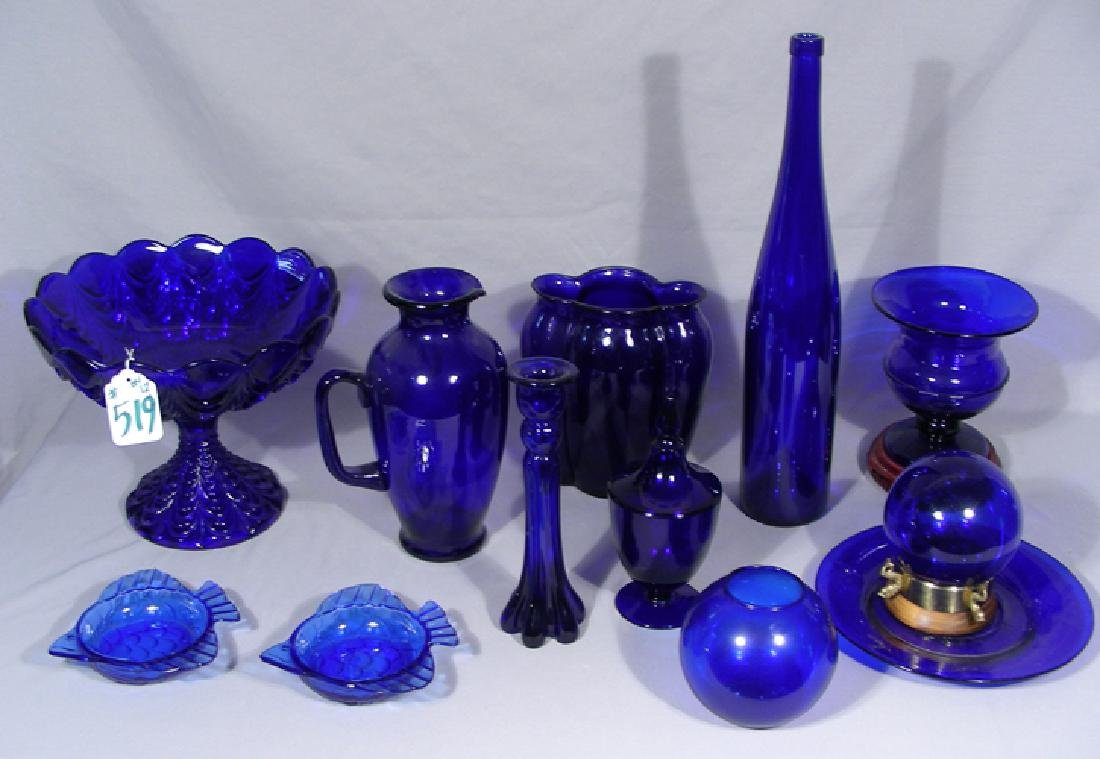 GROUP OF 12 MISC. FINE COBALT GLASS ACCESSORIES