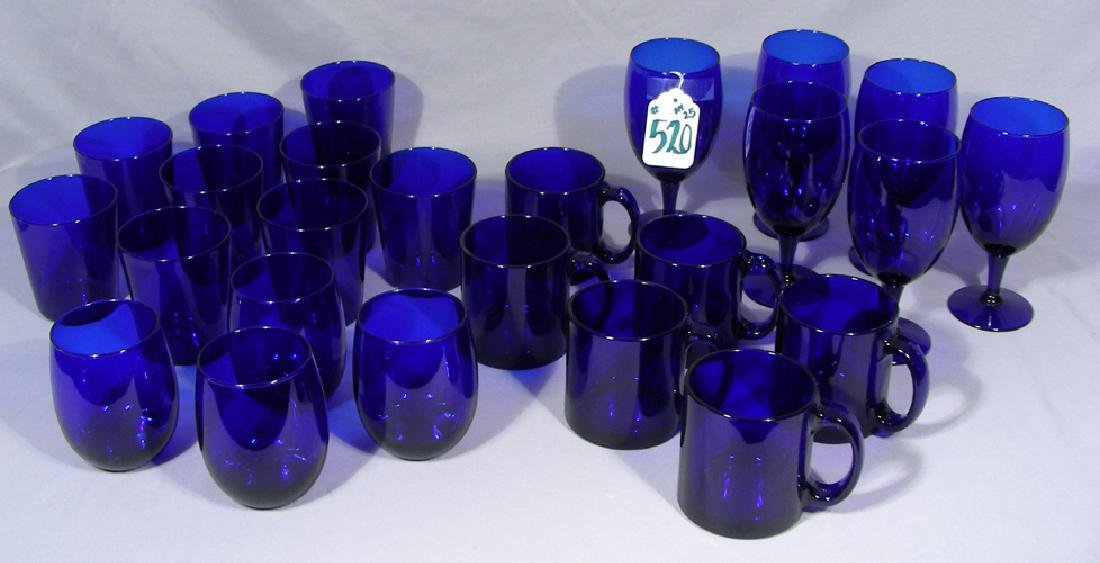 GROUP OF 25 PIECES OF COBALT BLUE GLASSWARE