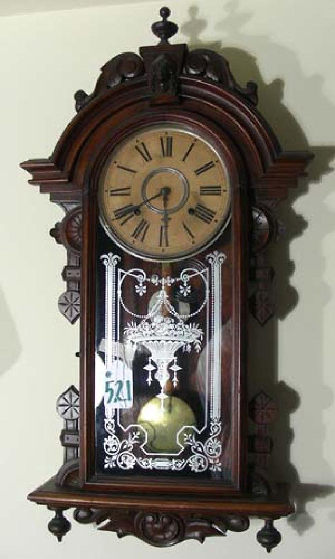 ANTIQUE AMERICAN HAND CARVED WOODEN WALL CLOCK