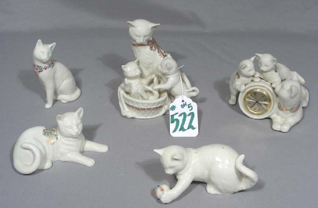 GROUP OF FIVE LENOX PORCELAIN CAT SCULPTURES