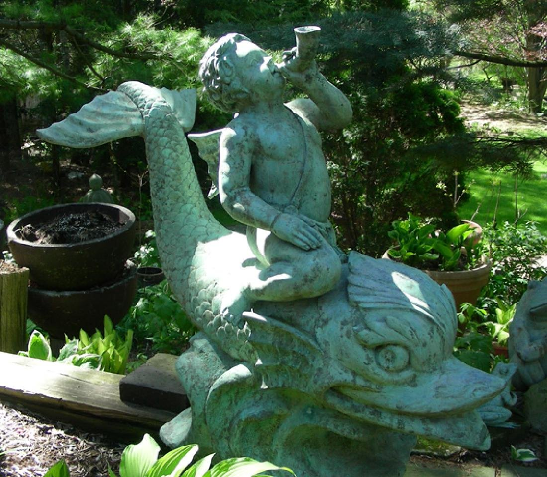 VINTAGE BRONZE SCULPTURE/FOUNTAIN OF BOY SEATED ON FISH
