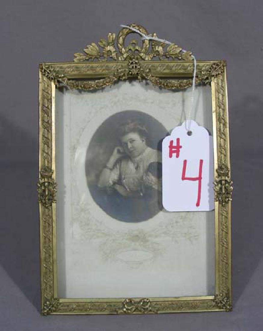 VINTAGE GILT METAL FRAME WITH ANTIQUE PHOTO
