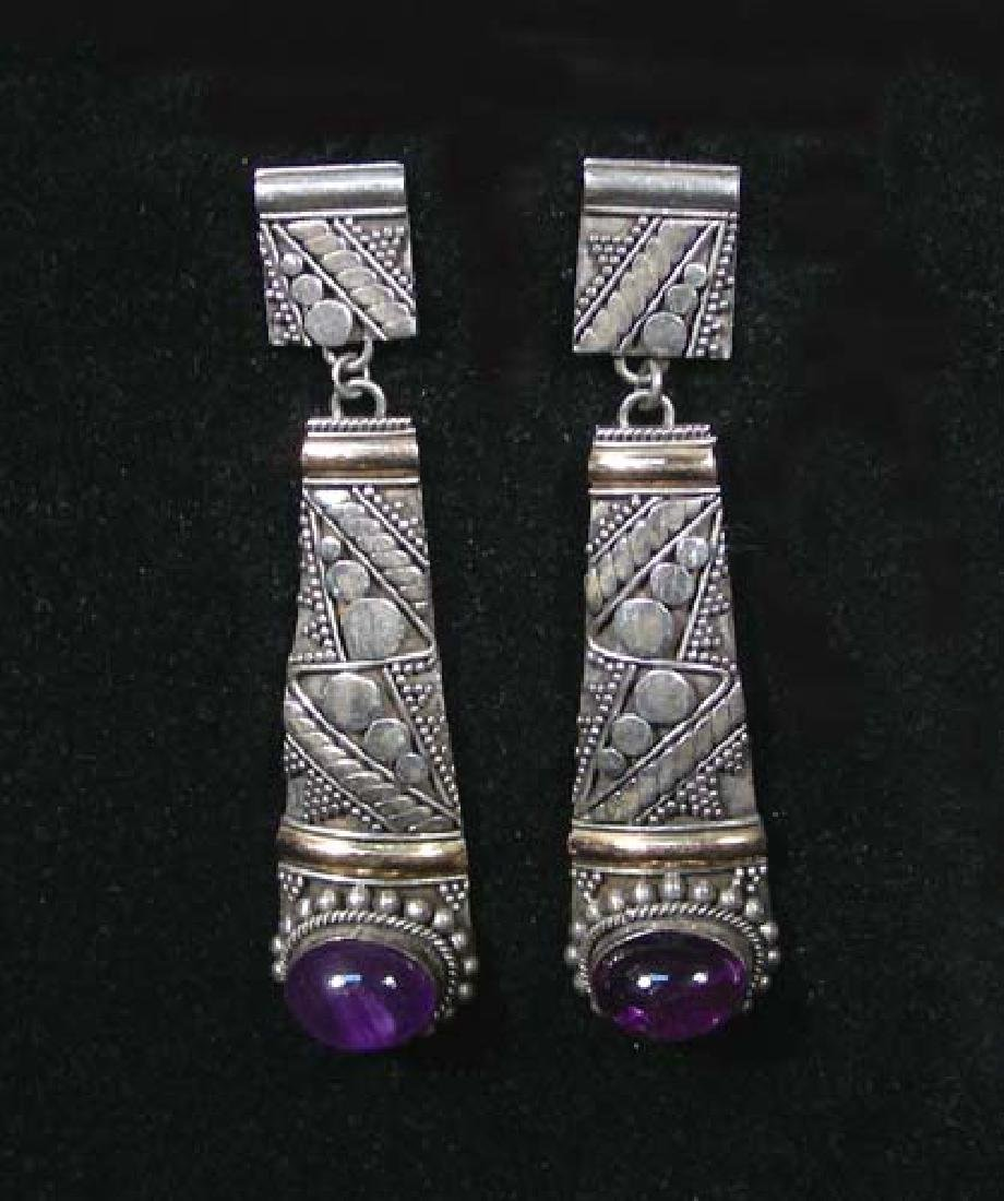 PAIR STERLING AND AMETHYST DANGLE EARRINGS