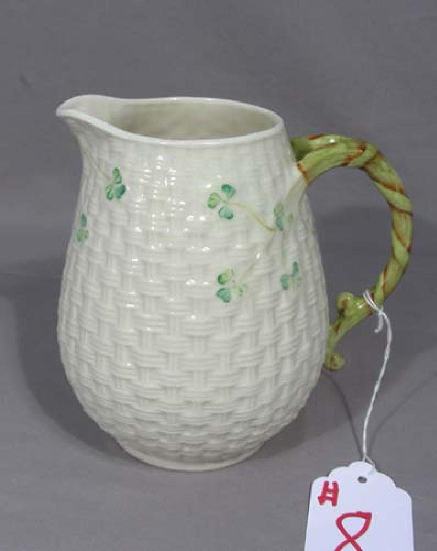 VINTAGE BELLEEK PITCHER WITH LOOP HANDLE