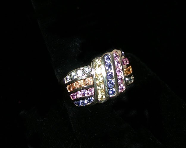 LADIES 14K YELLOW GOLD MULTI COLORED SAPPHIRE RING