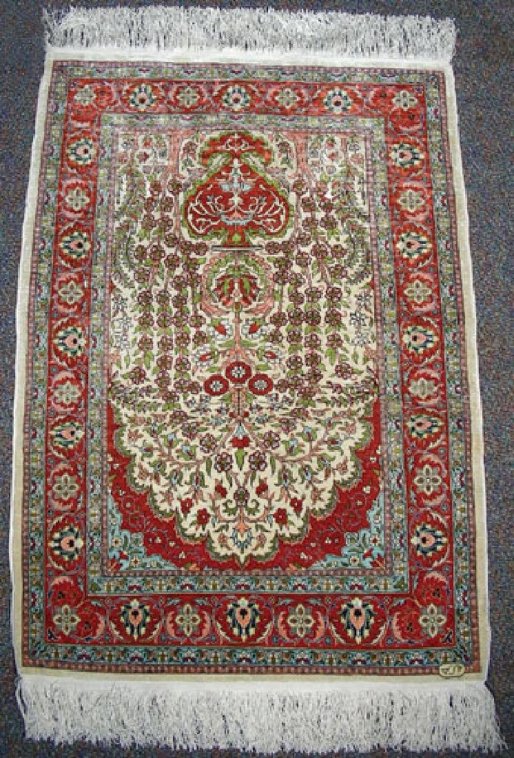 VERY FINE PURE SILK TURKISH HEREKE AREA RUG