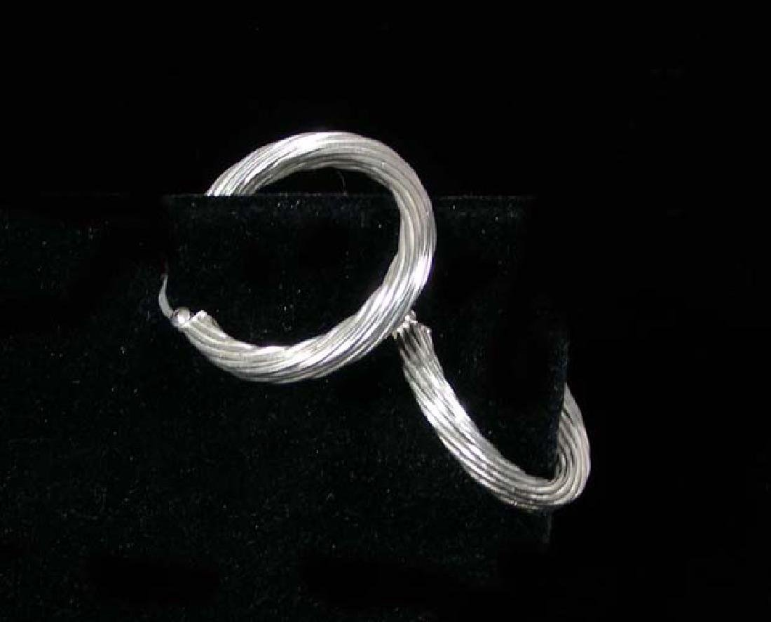 PAIR STERLING SILVER HOOP EARRINGS