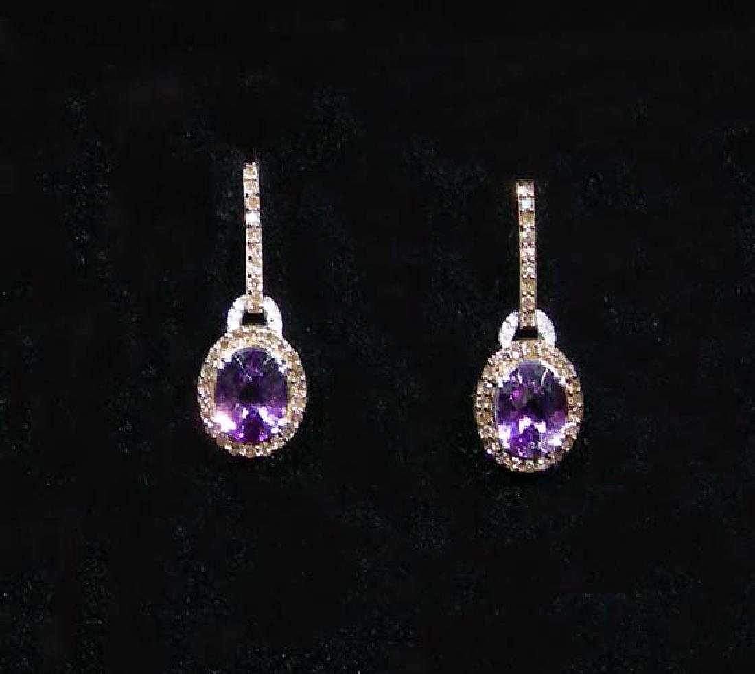 LADIES 10K WHITE GOLD, AMETHYST AND DIAMOND DANGLE