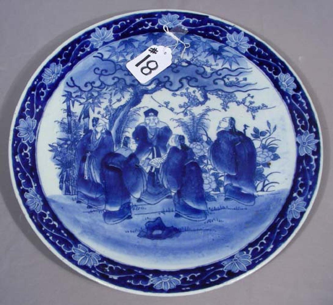 VINTAGE CHINESE BLUE AND WHITE PORCELAIN CHARGER