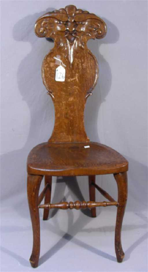 - ANTIQUE HAND CARVED OAK HIGH BACK CHAIR