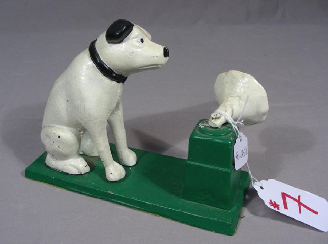 HEAVY HAND PAINTED CAST IRON DOG BANK