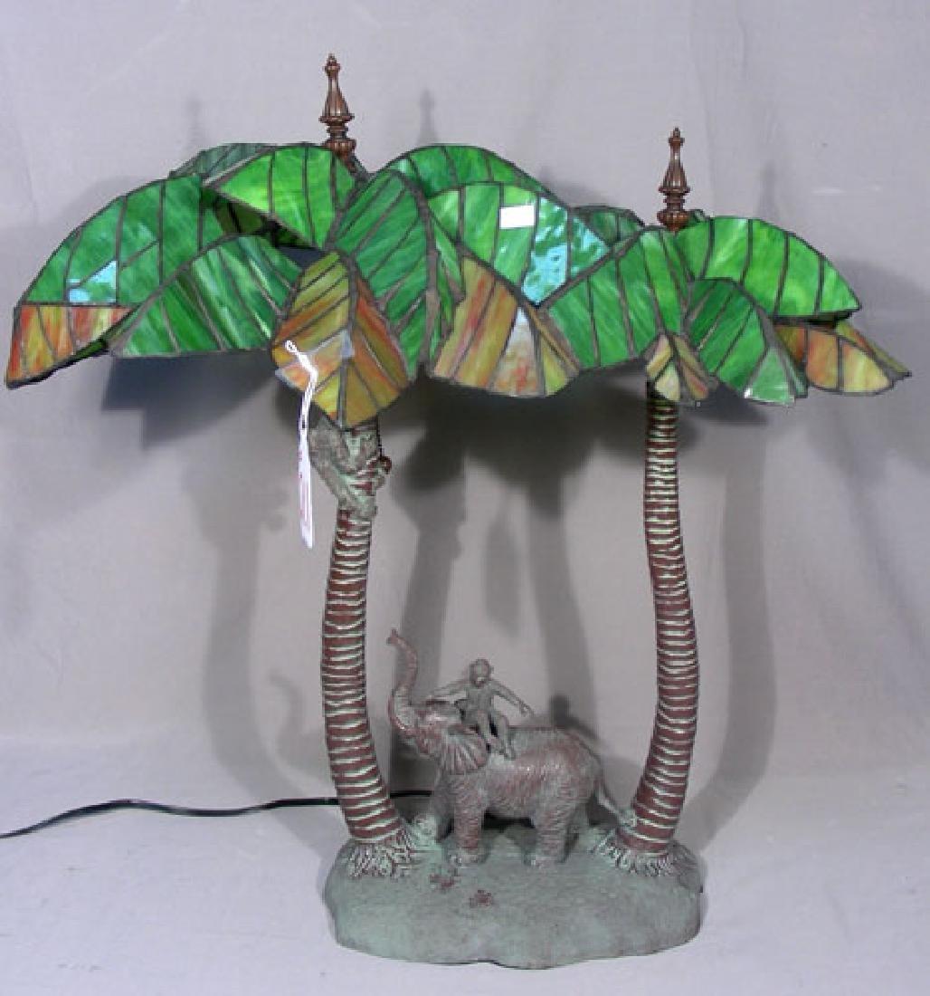 UNUSUAL LEADED GLASS ELEPHANT & MONKEY LAMP