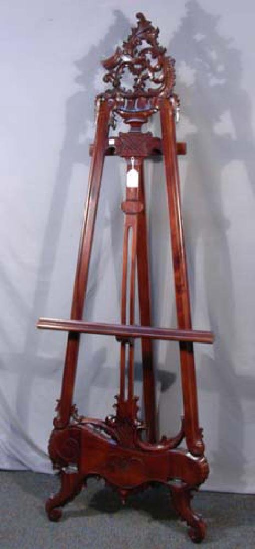 HAND CARVED MAHOGANY WOODEN EASEL