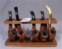 ANTIQUE HAND CARVED WOODEN PIPE COLLECTION