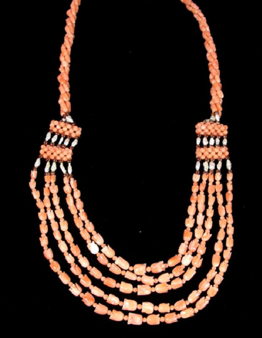 CORAL AND FRESH WATER PEARL NECKLACE
