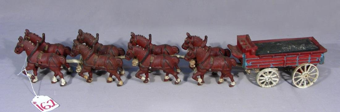 VINTAGE CAST IRON HORSE DRAWN CARRIAGE