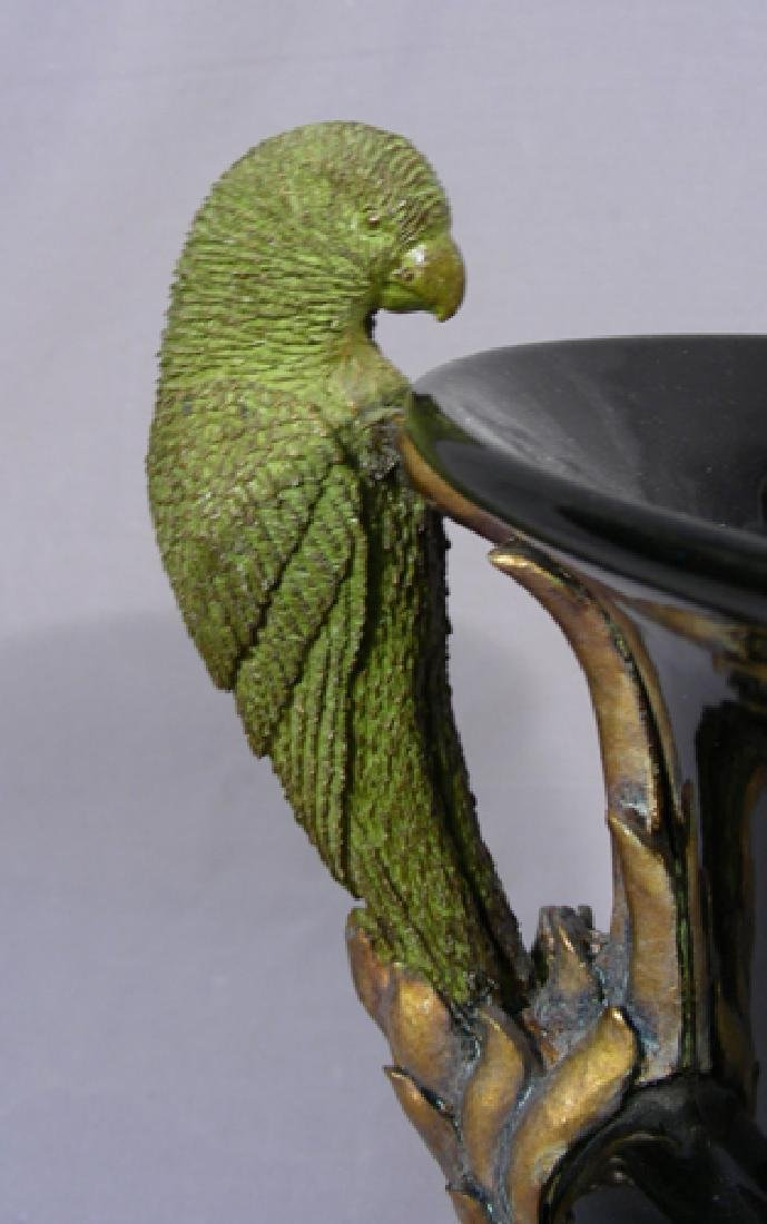 UNUSUAL PORCELAIN URN WITH BIRD HANDLES - 2
