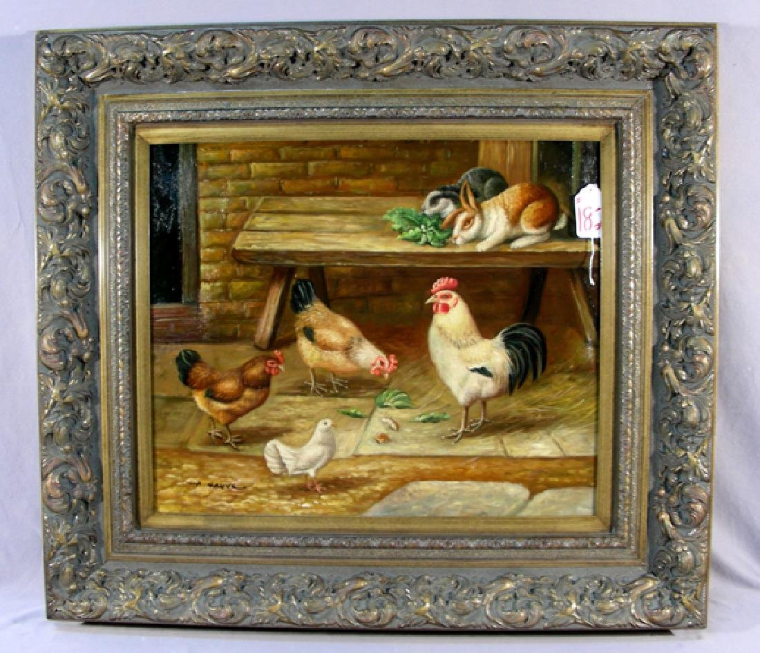 ORIGINAL OIL ON CANVAS:  BARNYARD SCENE