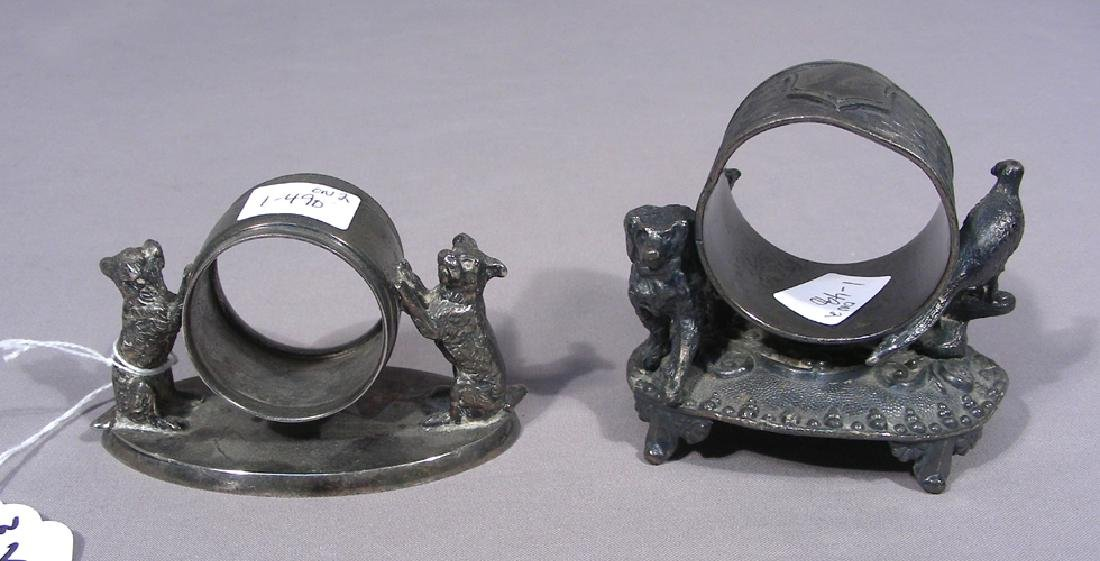 TWO ANTIQUE SILVER PLATED NAPKIN RINGS
