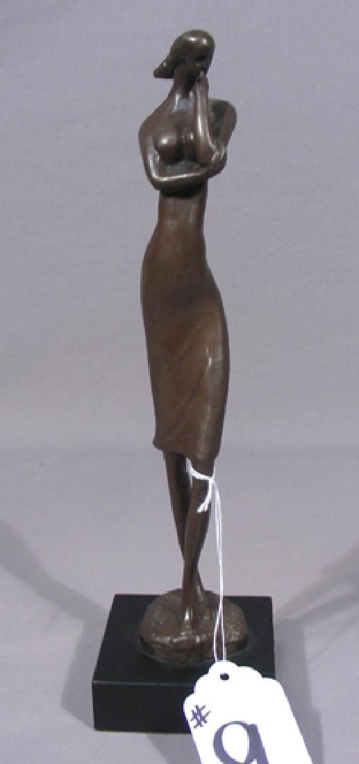 BRONZE ABSTRACT SCULPTURE OF WOMAN STRIKING A POSE