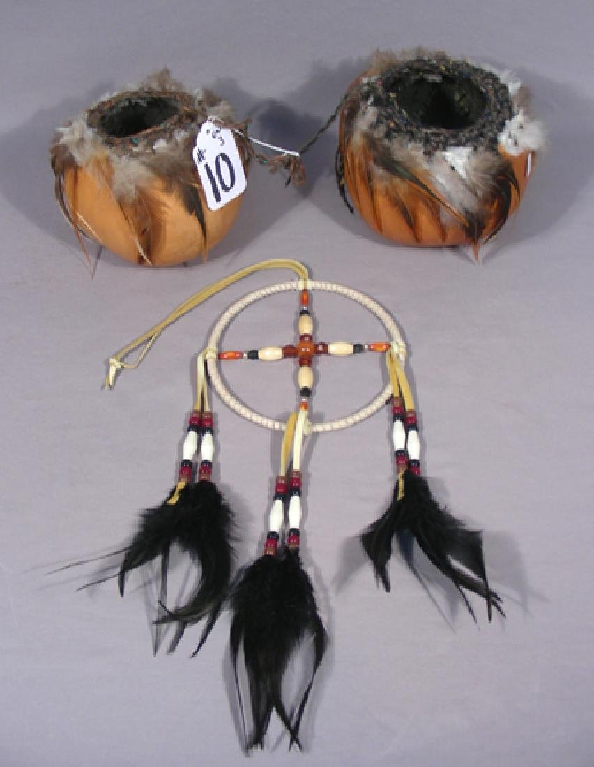 TWO HAND PAINTED GOURDES & A DREAM CATCHER
