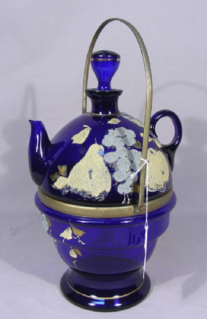 VINTAGE BLUE GLASS PITCHER ON STAND