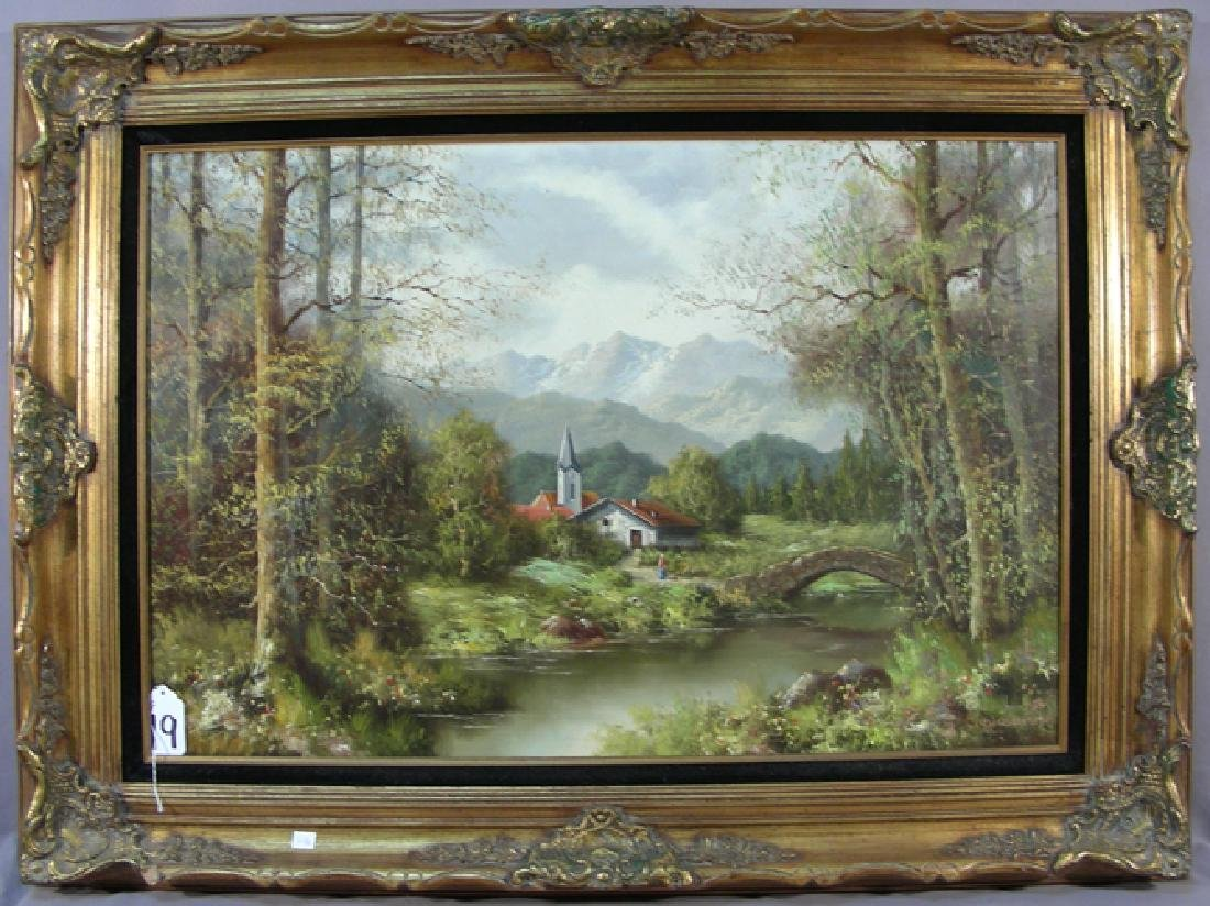 ORIGINAL GERMAN OIL ON CANVAS:  MOUNTAINS IN A