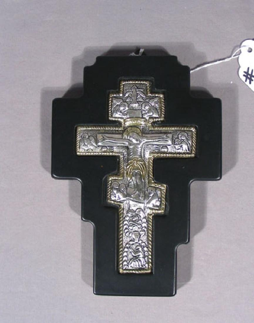 FINELY DETAILED STERLING SILVER CROSS ON WOODEN BASE