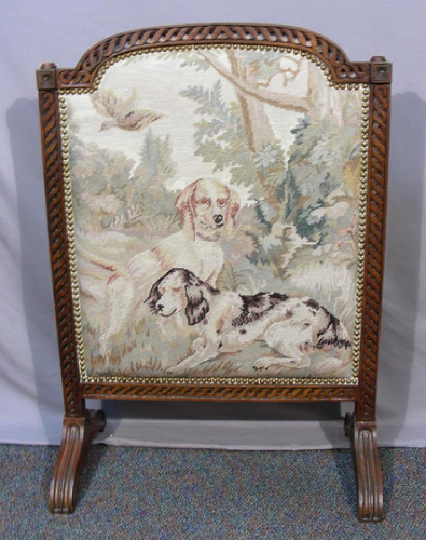 VINTAGE WOOD AND NEEDLEPOINT FIRE SCREEN