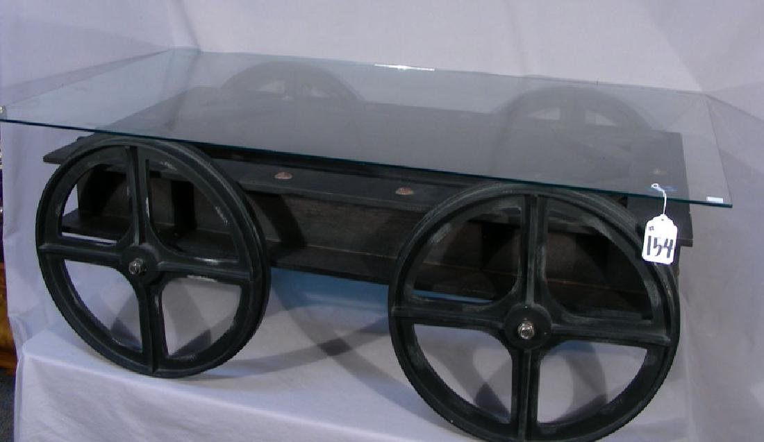 VERY UNUSUAL WAGON MOTIF COFFEE TABLE WITH GLASS TOP
